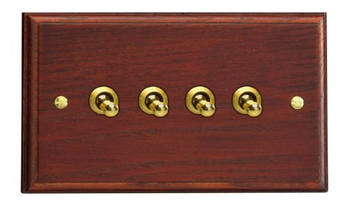 Varilight XKT9M Kilnwood Mahogany 4 Gang 10A 1 or 2 Way Toggle Light Switch